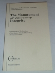 The Management of University Integrity